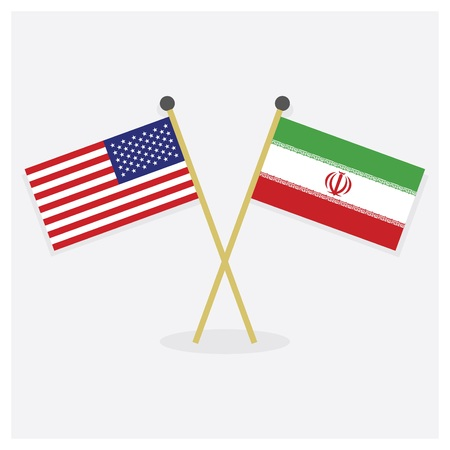 Crossed United States of America flag and Islamic Republic of Iran flag icons with shadow on off white background  イラスト・ベクター素材