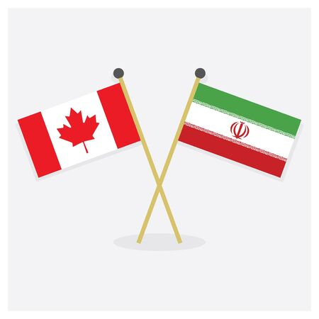 Crossed Canada flag and Islamic Republic of Iran flag icons with shadow on off white background
