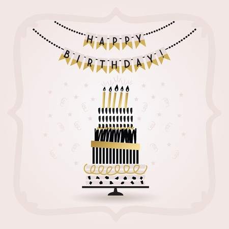 Black and golden Happy Birthday decoration banner and cake card on pink background Иллюстрация