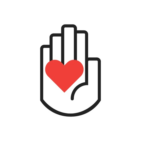Isolated black line hand symbol holding red heart sign icon on white background Illustration