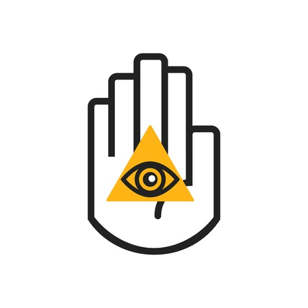 Isolated black line hand symbol holding orange triangel seeing eye sign icon on white background Illustration