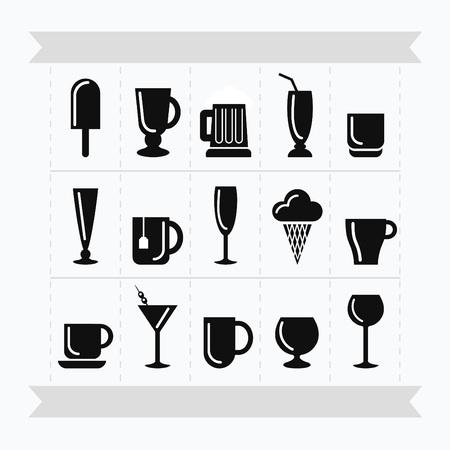 Black silhouette ice cream and different type of mugs. Stock Illustratie