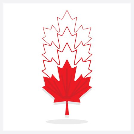 Abstract vertical faded away line red maple leaf emblems icons