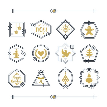 Trendy golden and navy blue line Christmas emblems and motifs set on white background