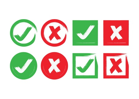 Red and green ink abstract circle and square brushed check mark and crossed X mark boxes icons set on white background Illustration