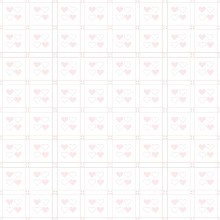 Cute baby pink heart pattern on white background Vettoriali