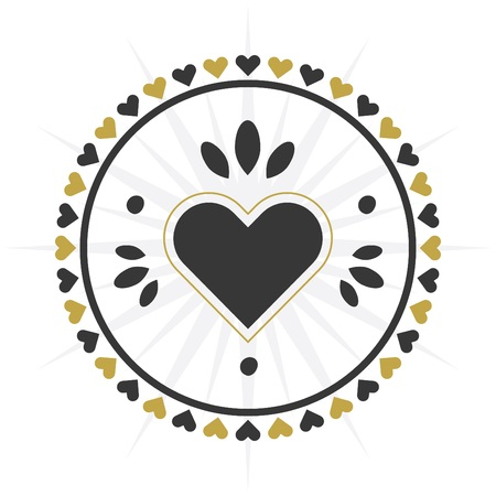 Black and golden circle heart border icon on white background 向量圖像