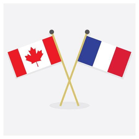 Crossed Canada and France flags icons with shadow on off white background
