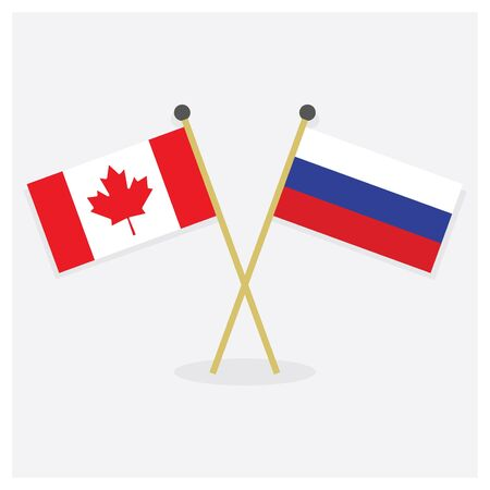 Crossed Canada and Russian flags icons with shadow on off white background Çizim