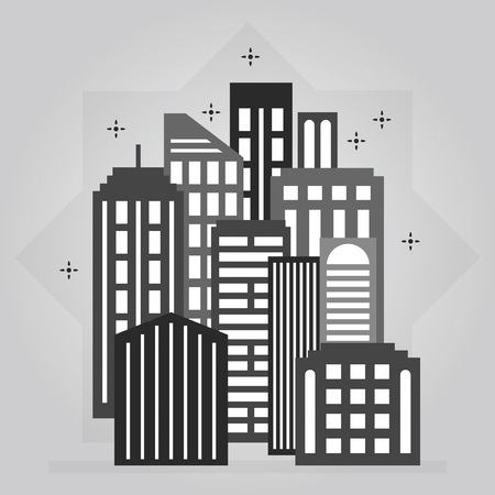 Black and gray night downtown city skyline set icon design element on gray background