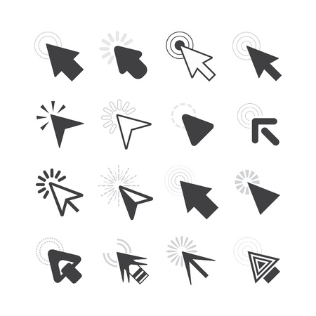 Black click cursor pointers icons set on white background
