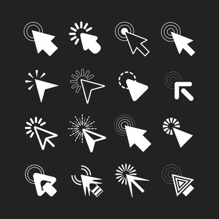 White click cursor pointers icons set on black background Vektoros illusztráció