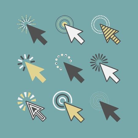 Abstract funky active click cursor pointers icons set on teal background Vektoros illusztráció