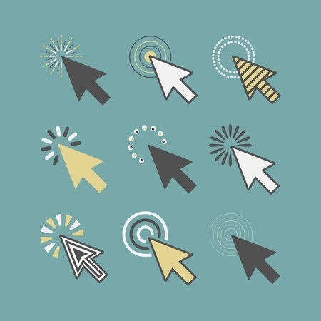 Abstract funky active click cursor pointers icons set on teal background
