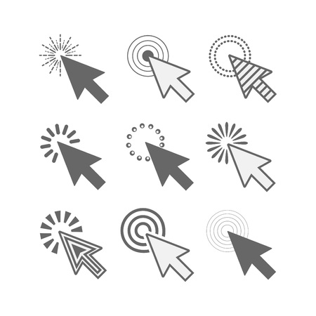 Abstract black funky active click cursor pointers icons set on white background