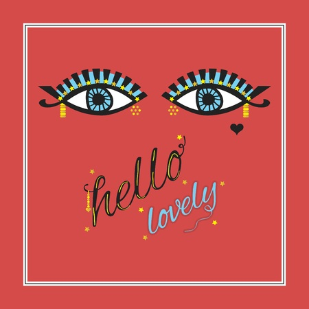 Gipsy open eyes with eyelashes and golden stars eye liner, dotted decoration and hello lovely message on red coral background Ilustrace