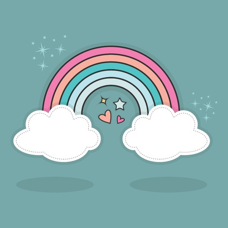 Cute abstract rainbow and clouds with hearts and stars sparkles in the sky with shadows on blue teal background Illustration