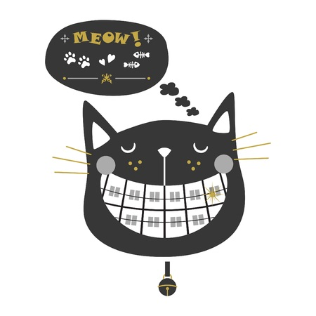 Black and golden cute laughing orthodontics black cat icons with collar bell and speech bubble on white background Illustration
