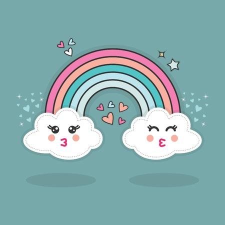 Cute abstract happy kissing Kawaii clouds and rainbow with hearts glitters in the sky with shadows on blue teal background