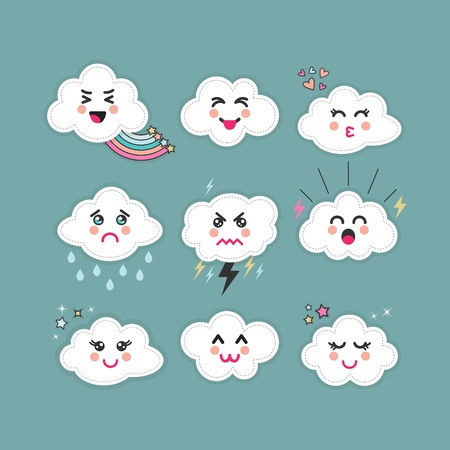 Cute abstract clouds Kawaii emoji icons set with different faces and expressions on blue teal sky background