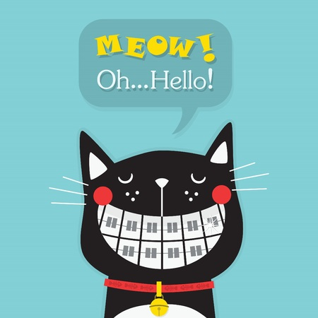 Cute laughing black cat with funny orthodontics teeth icon and Oh Hello message on blue background