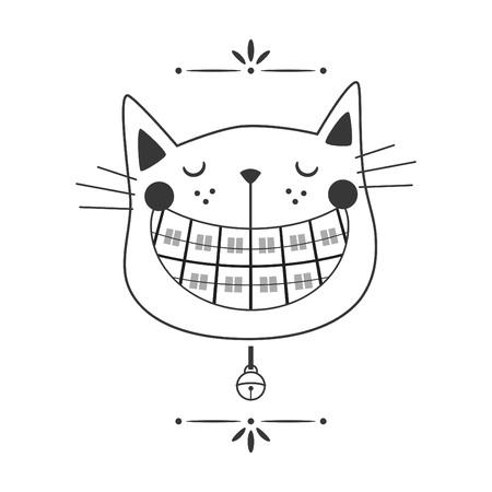 Línea negra lindo icono de cara de gato de ortodoncia riendo con campana de cuello sobre fondo blanco