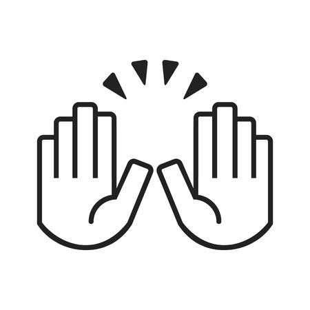 Black raising celebration hands icons on white background