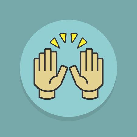 Colorful raising celebration hands icons sticker label on teal blue background Иллюстрация