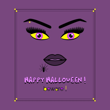 Close up of abstract woman face with pink and yellow eyes Happy Halloween beware card on purple background
