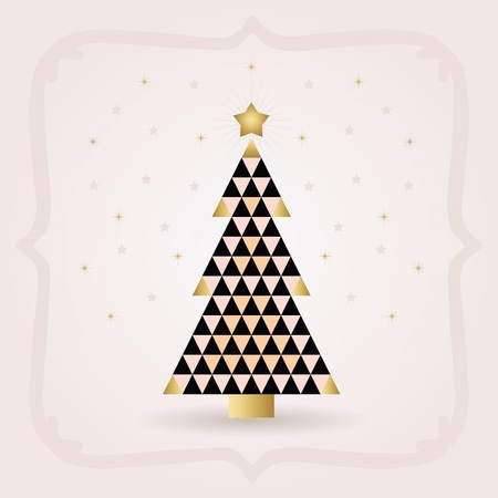Abstract black pointy triangle tiles pattern Christmas pine tree with golden top star on pink background  イラスト・ベクター素材