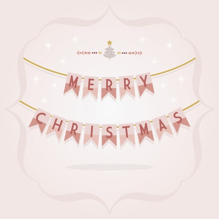 Abstract burgundy and golden Merry Christmas buntings with holiday pine tree divider icon on pink gradient background