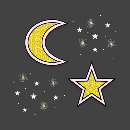 Abstract white and golden moon and stars icons in the sky at night on teal blue background