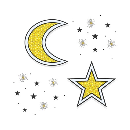 Abstract Golden and black moon and stars icons in the sky at night on white background