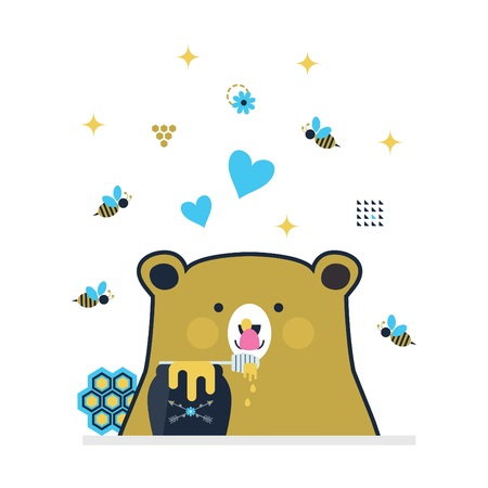 Blue and golden cute little bear licking honey stick surrounded by flying bees on white background 向量圖像