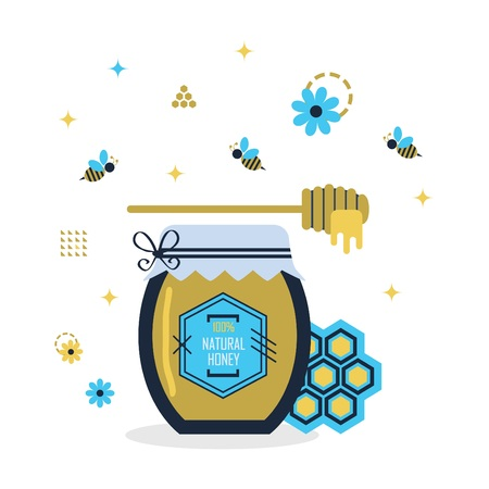 Blue and golden hundred percent natural honey jar with little bees and signs and symbolshoney icons on white background