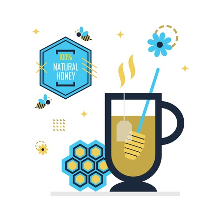 Blue and golden hot honey tea with hundred percent natural honey emblem icons on white background
