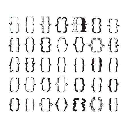 Pares de apertura y cierre negros, corchetes o llaves con diferentes tipos de letra y estilos de iconos en fondo blanco