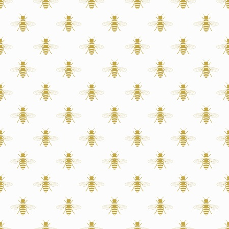 Golden flying honey bee icon pattern on white background design element 向量圖像