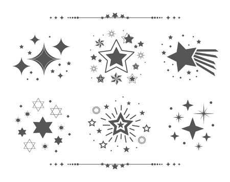 Black different sets of abstract silhouette stars icons design elements set on white background