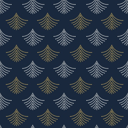 Abstract trendy golden and white geometrical dotted fans shape pattern on dark navy blue background