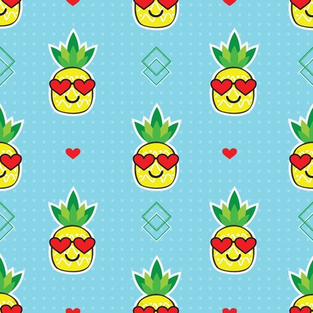 Cute yellow cartoon pineapples emoji face with red heart sunglasses on cool blue dotted background pattern