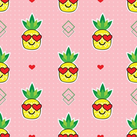Cute yellow cartoon pineapples emoji face with red heart sunglasses on retro pink dotted background pattern 向量圖像