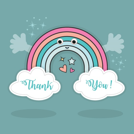 Cute abstract Thank You rainbow and clouds with open hands, hearts and stars sparkles in the sky with shadows on blue teal background