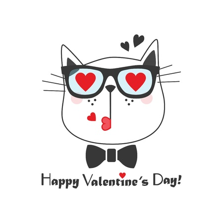 Black line cute kissing cat face icon with heart sunglasses and bow tie and Happy Valentines Day message on white background