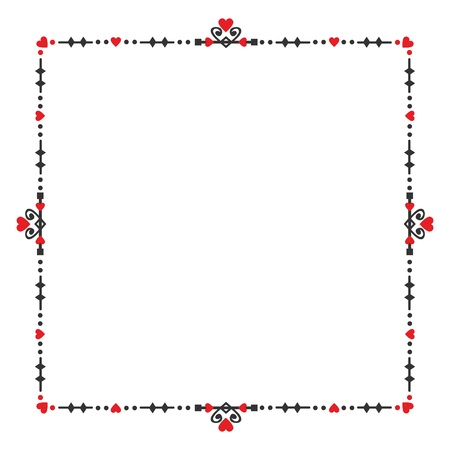 Black and red blank heart square banner embelm frame design elements on white background