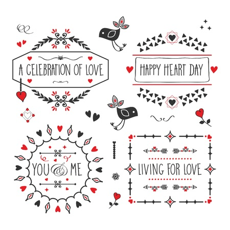 Black and red Love and romantic message banners and embelms design elements set on white background 向量圖像
