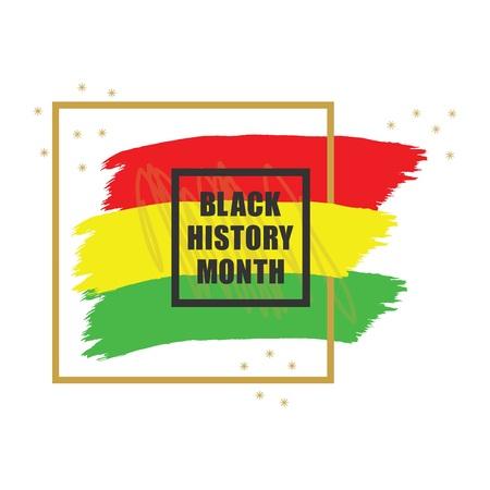 Elemento di design banner colorato emblema del mese di storia dorato e nero su sfondo bianco Vettoriali