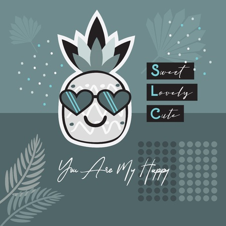 Abstract gray blue tropical pineapple wearing heart sunglasses emoji retro style card with You Are My Happy, sweet, lovely and cute message 向量圖像