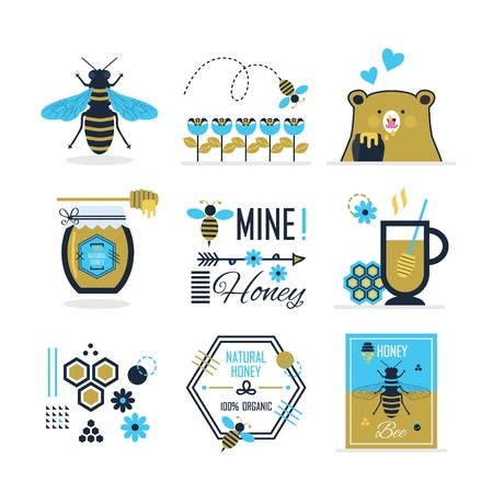 Blue and golden cute summer, honey,  bee and a bear icons, signs, symbols and design elements set on white background 向量圖像