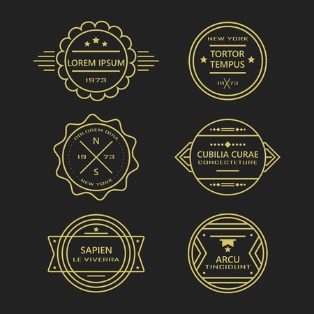 Assorted line vintage retro badges and labels collection - Gold like color on black background